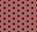 Red and White Hexagon Tile Pattern Repeat Background