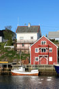 Red and white houses of Henningsvaer Royalty Free Stock Images