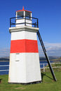 Red and white lighthouse at nw end of crinan canal the the in argyll scotland Royalty Free Stock Photo