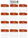 Red and white paper calendar 2014