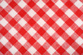 Red and white plaid fabric. Linen red checkered. Background and texture. Royalty Free Stock Photo