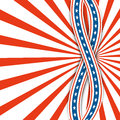 Red and white rays.Abstract background USA independence day.Two ribbons with stars.