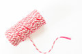 Red and white rope reel isolated on white background