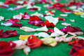 Red, white rose petals scattered on green carpet Royalty Free Stock Photo