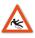Red white slippery warning sign Stock Photography