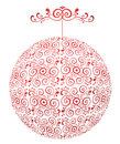 Red white sphere with ornament Stock Image