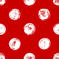 Red and white sponge print polka dot geometric grunge seamless pattern, vector
