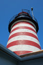 Red and white striped lighthouse tower the candy light of the west quoddy Stock Images