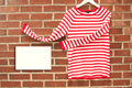 Red and white striped shirt with sign inviting copyspace Royalty Free Stock Image