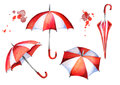 Red and white umbrellas set. Watercolor