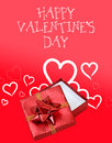 Red and white valentines day background a valentine s gift box with holiday message Stock Photo