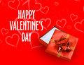 Red and white valentines day background a valentine s gift box with holiday message Stock Images