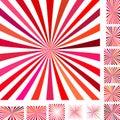 Red white ray burst background set Royalty Free Stock Photo