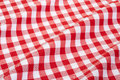 Red and white wavy tablecloth gingham texture background high detailed Stock Photography