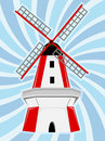 Red White Windmill Blue Swirl Background Stock Images