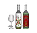 Red and white wine bottle with glass. Royalty Free Stock Photo