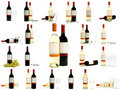 Red and white wine bottles set Royalty Free Stock Photo