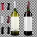Red and white wine bottles. Set of caps or sleeves, closing the stopper. Royalty Free Stock Photo