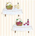 Red and white wine with grape two illustrations green on tables Royalty Free Stock Image