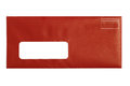Red window envelope with white background Stock Photos