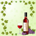 Red wine bottle glass of and grapes Royalty Free Stock Photos