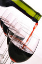 Red wine bottle and glasses Stock Images