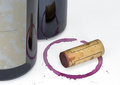 Red Wine Bottle Cork Glass Stain Royalty Free Stock Photo