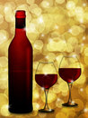 Red Wine Bottle and Two Glasses Blurred Background Royalty Free Stock Photo