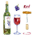 Red wine bottle, wineglass, grapes, corkscrew, cork and stain, isolated set Royalty Free Stock Photo