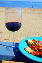 Red Wine and Bruschetta Stock Photography