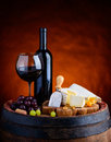 Red Wine and Camembert and Brie Soft Cheese Royalty Free Stock Photo