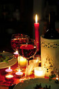 Red wine candlelight dinner Royalty Free Stock Image