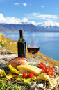 Red wine chees bread and cherry tomatos lavaux switzerland Royalty Free Stock Images