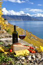 Red wine chees bread and cherry tomatos lavaux switzerland Royalty Free Stock Photography