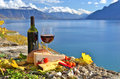 Red wine chees bread and cherry tomatos lavaux switzerland Stock Photo