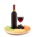 Red wine and cheese composition isolated on a white background Stock Image
