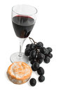 Red wine cheese and grapes isolated white Stock Photo