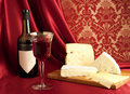 Red wine and cheese varieties Royalty Free Stock Photography