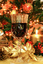 Red wine and Christmas decor Stock Photography