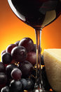 Red wine and food Stock Photos