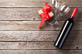 Red wine and gift box Royalty Free Stock Photo
