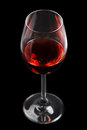Red wine glass on black background Stock Photography