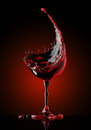 Red wine glass on black background
