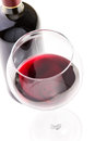 Red wine in glass with bottle Royalty Free Stock Photo