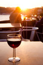 Red wine glass at sunset Royalty Free Stock Image