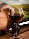 Red wine with landscape still life Stock Photo