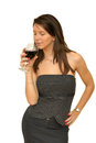 Red wine picture of beautiful brunette girl with glass of Stock Photo