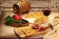 Red wine, pomegranate and cheese flatbread Royalty Free Stock Photo