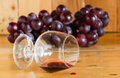 Red wine spilled from glass and grapes fruit Stock Photography