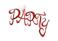 Red wine splash party font with drops on white Royalty Free Stock Photo